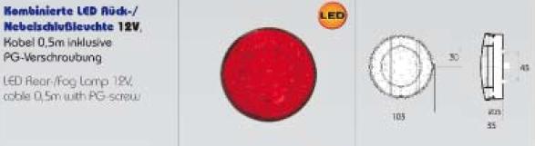 Taka Äärivalo LED 2-kammiovalo Ø 103mm, punainen 12V